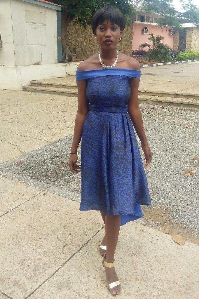 styling  A Blue Off Shoulder dinner dress