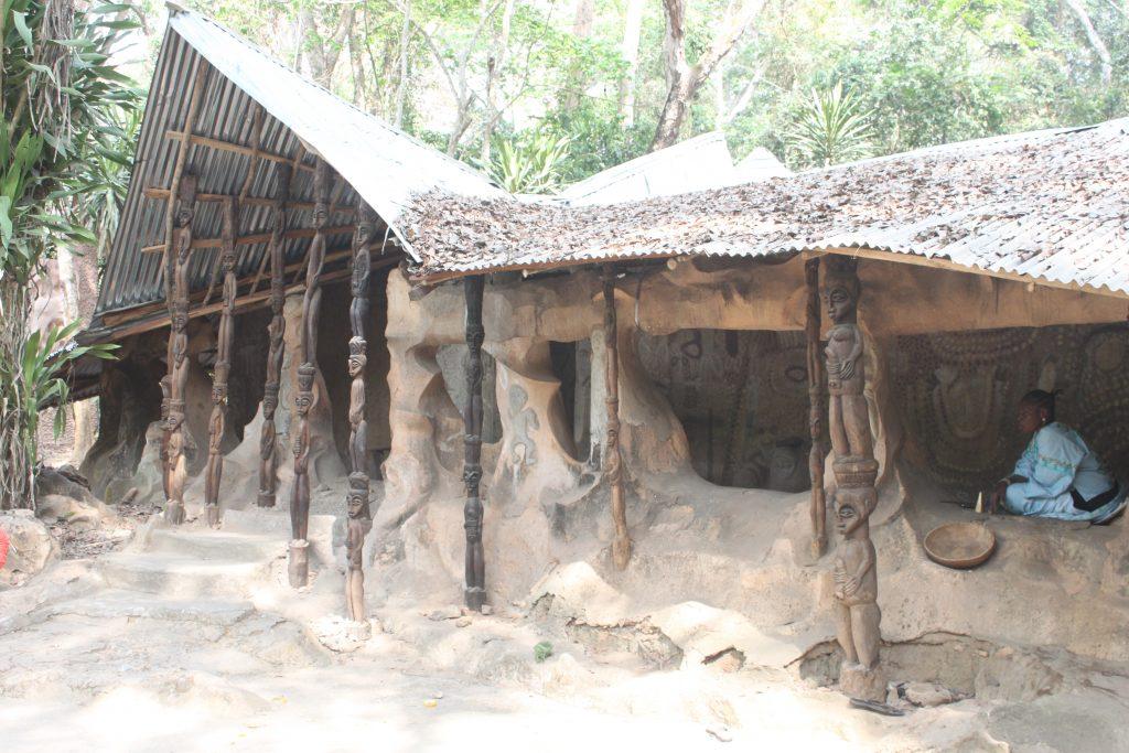 huts at Osun Osogbo Groove