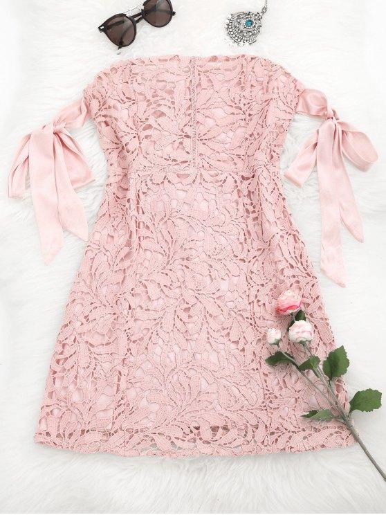 zaful bowknot lace tube dress